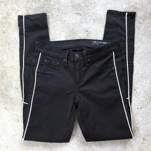 Rag & Bone Black Leather Piping Skinny Jeans 26